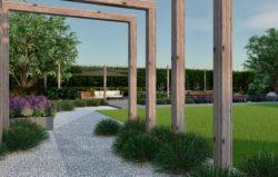 Pergola, trawy ozdobne, wizualizacja ogrodu, rabaty bylinowe