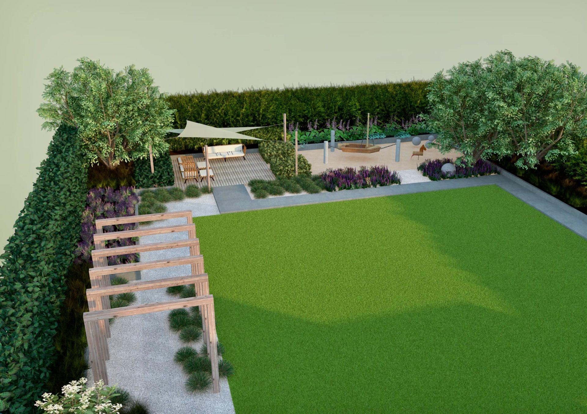 Projekt ogrodu, wizualizacja, pergola, taras, prosty, rabaty