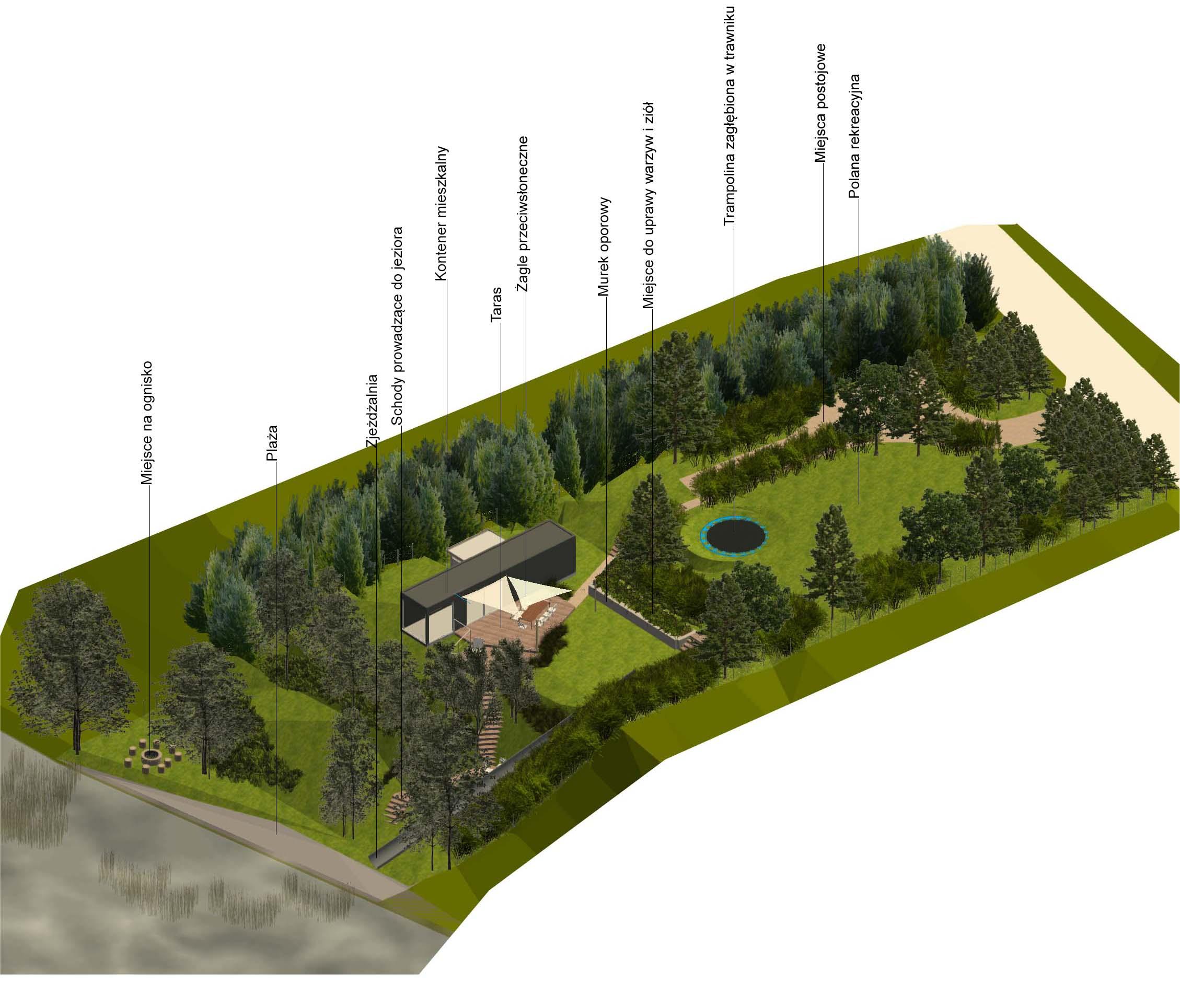 Ogród nad jeziorem wizualizacja projekt
