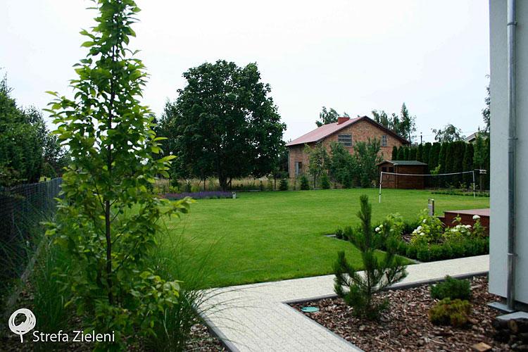 Ogród przydomowy, trawnik, rośliny