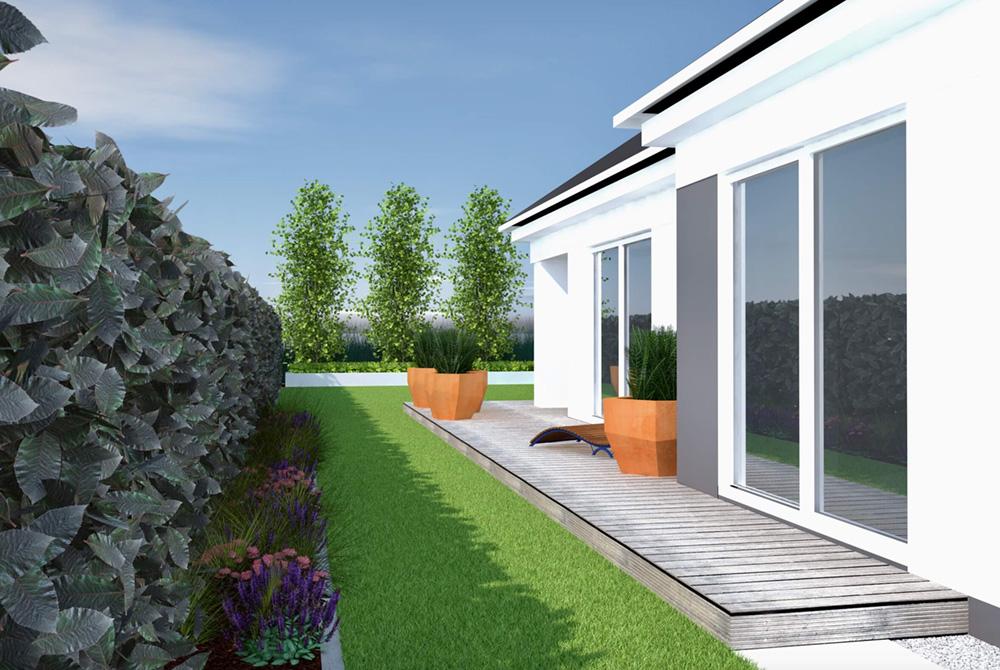 Wizualizacja ogrodu, projekt ogrodu, taras drewniany, donice corten