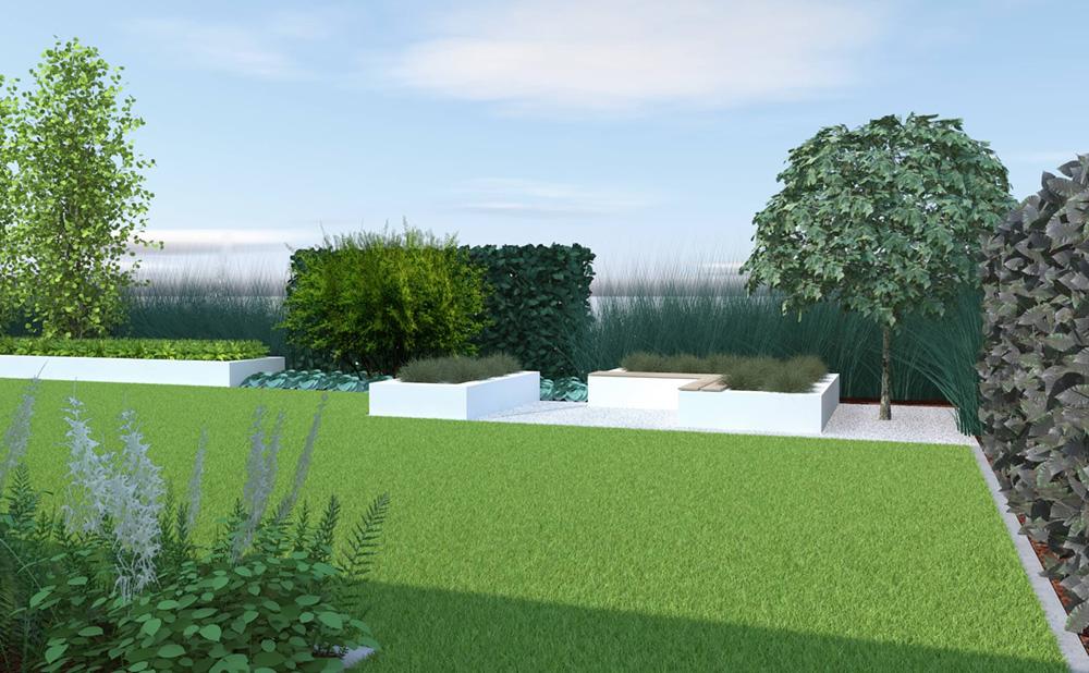 Ogród, donice, miejsce do siedzenia, trawy, wizualizacja ogrodu, projekt ogrodu