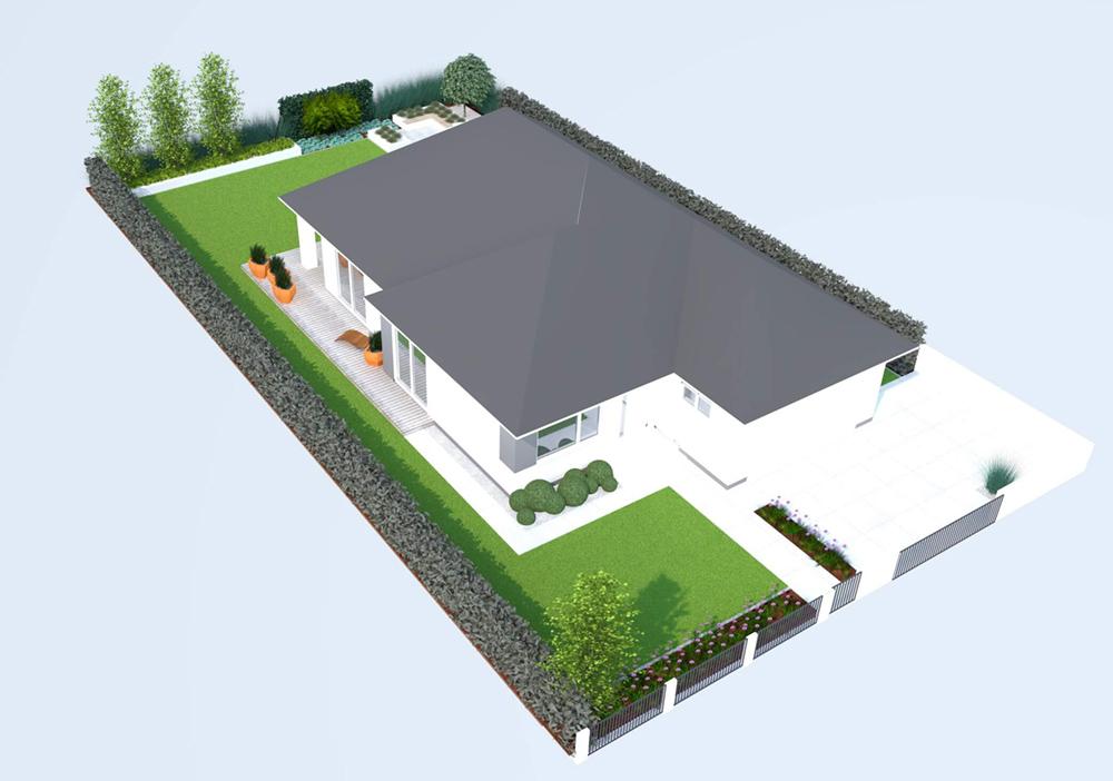 Ogród prosty, widok z góry wizualizacja, projekt
