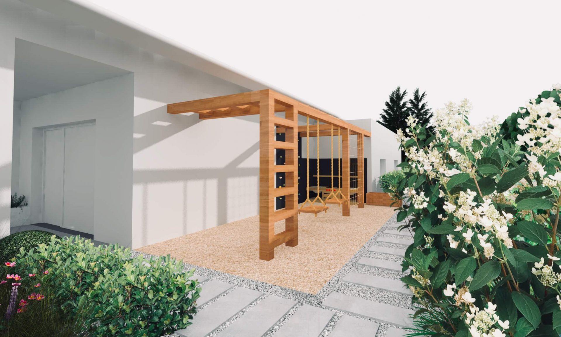Projekt ogrodu plac zabaw przy domu