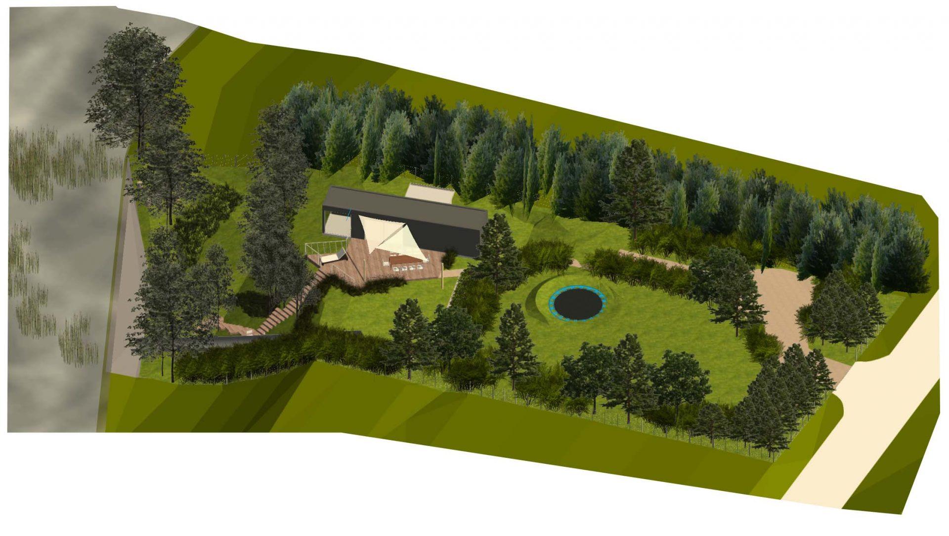Ogród z trampoliną, jezioro