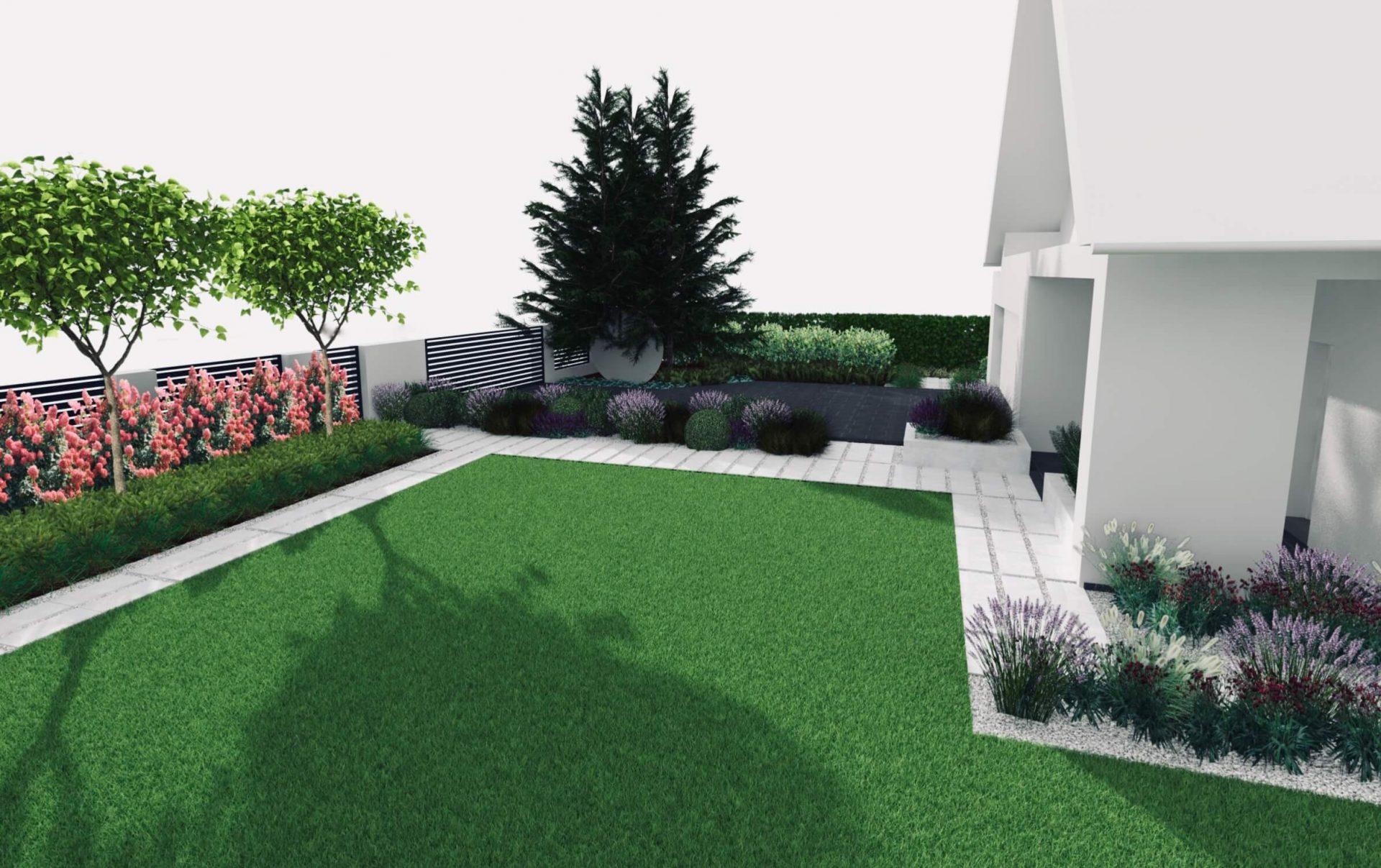 Ogród frontowy, ścieżka z płyt w grysie, lawendy byliny, wizualizacja projekt ogrodu