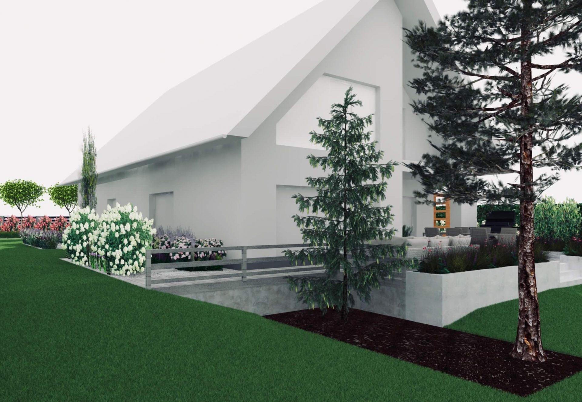 Projekt ogrodu taras na podwyższeniu