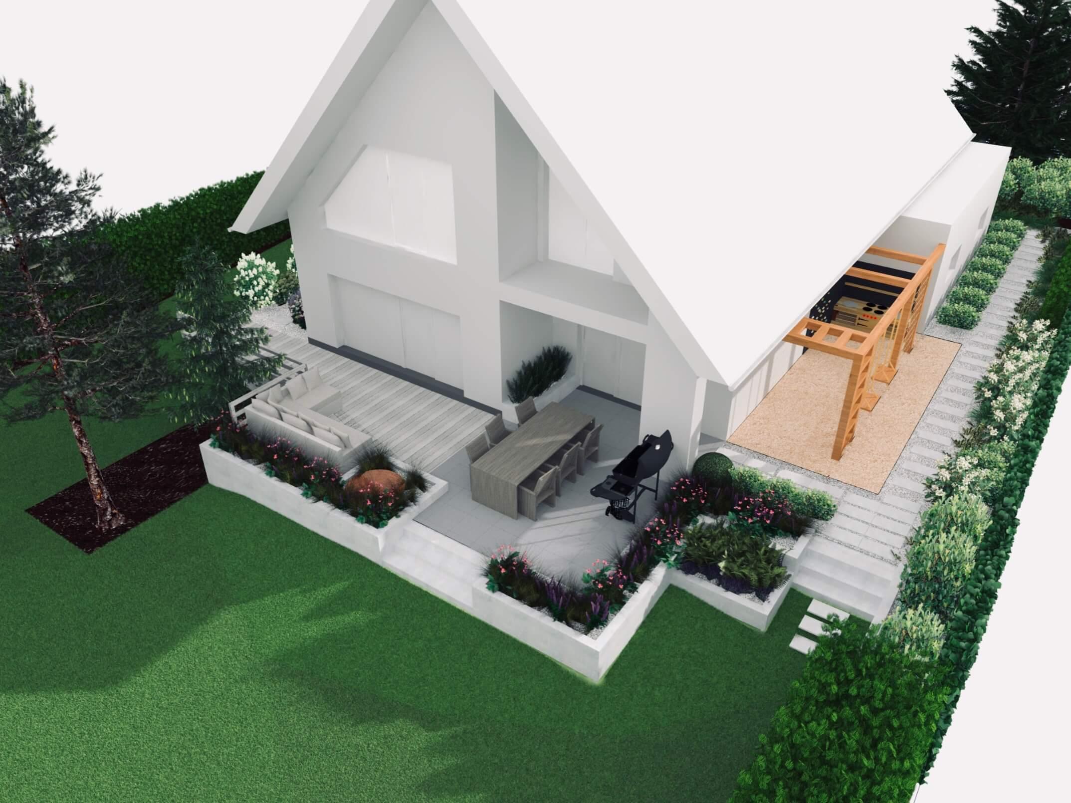 Wizualizacja taras ogród, miejsce zabawy dla dzieci, projekt ogrodu