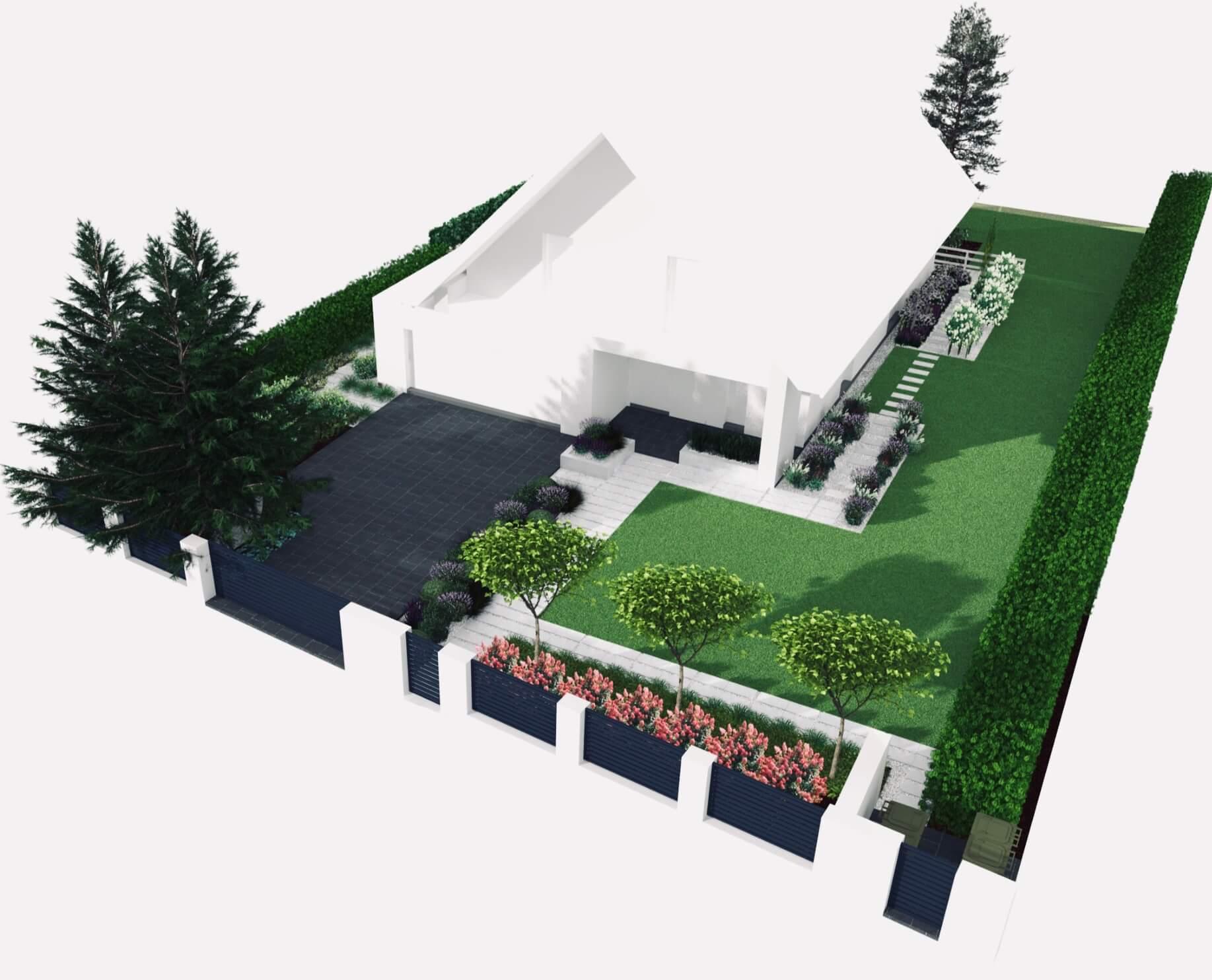 Projekt ogrodu część frontowa widok z góry