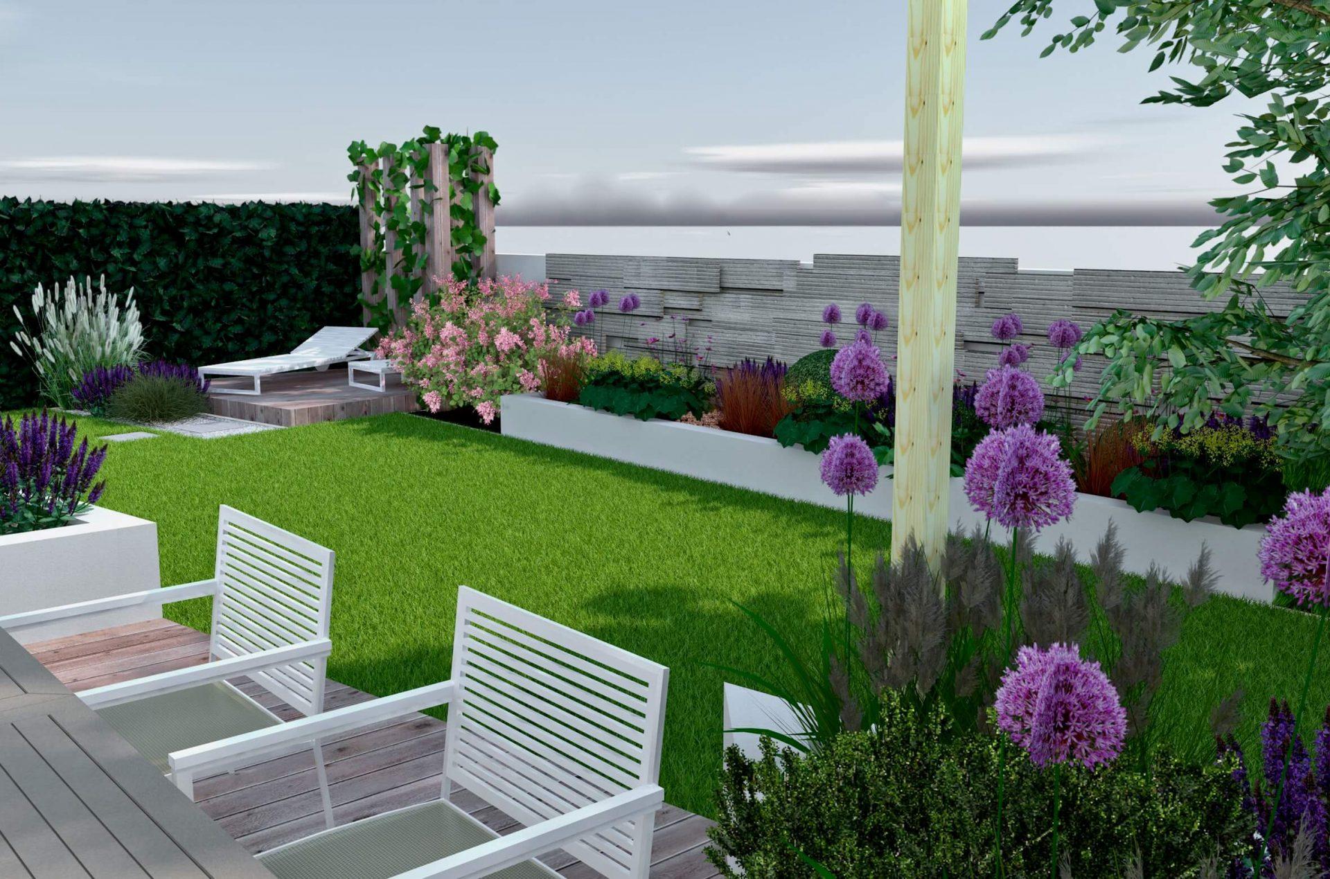 Projekt ogrodu, wizualizacja, widok z tarasu, drewniana ściana, rabata bylinowa