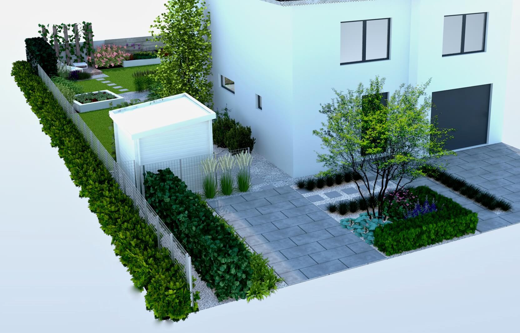 Wizualizacja ogrodu, podjazd, ogród frontowy,