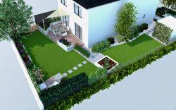 Ogród mały, wizualizacja, projekt