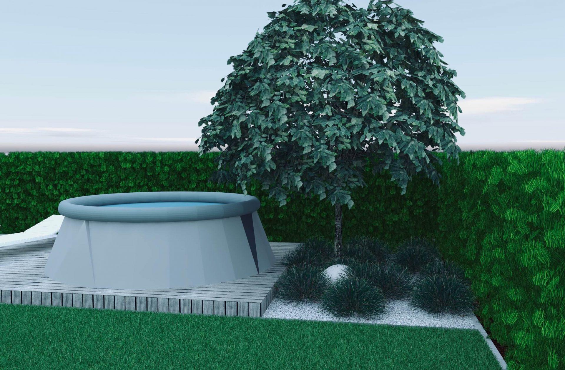 Projekt ogrodu, drzewo trawy lampa kula