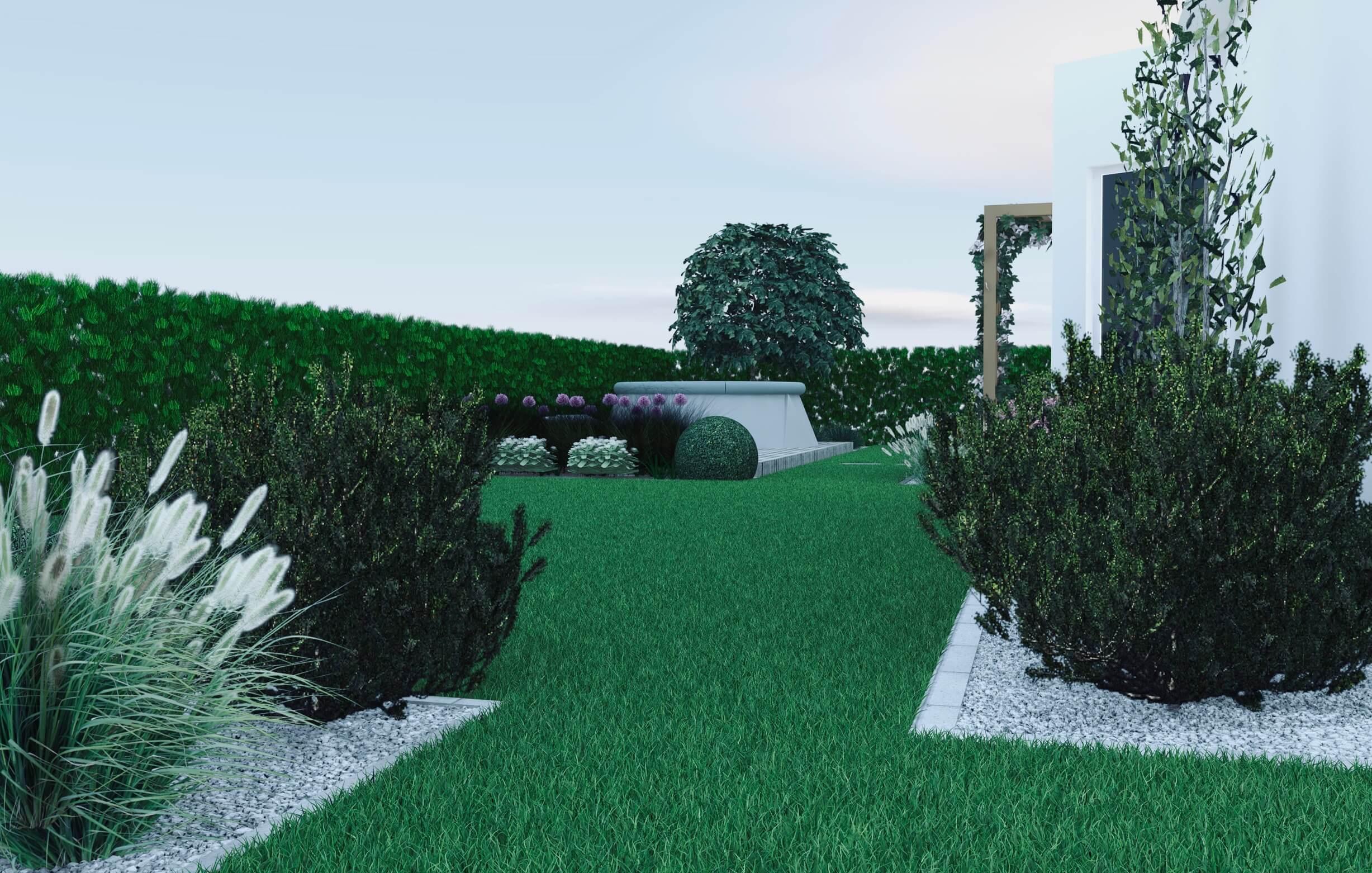 Wizualizacja ogrodu, sosny kosodrzewiny, rozkładany basen