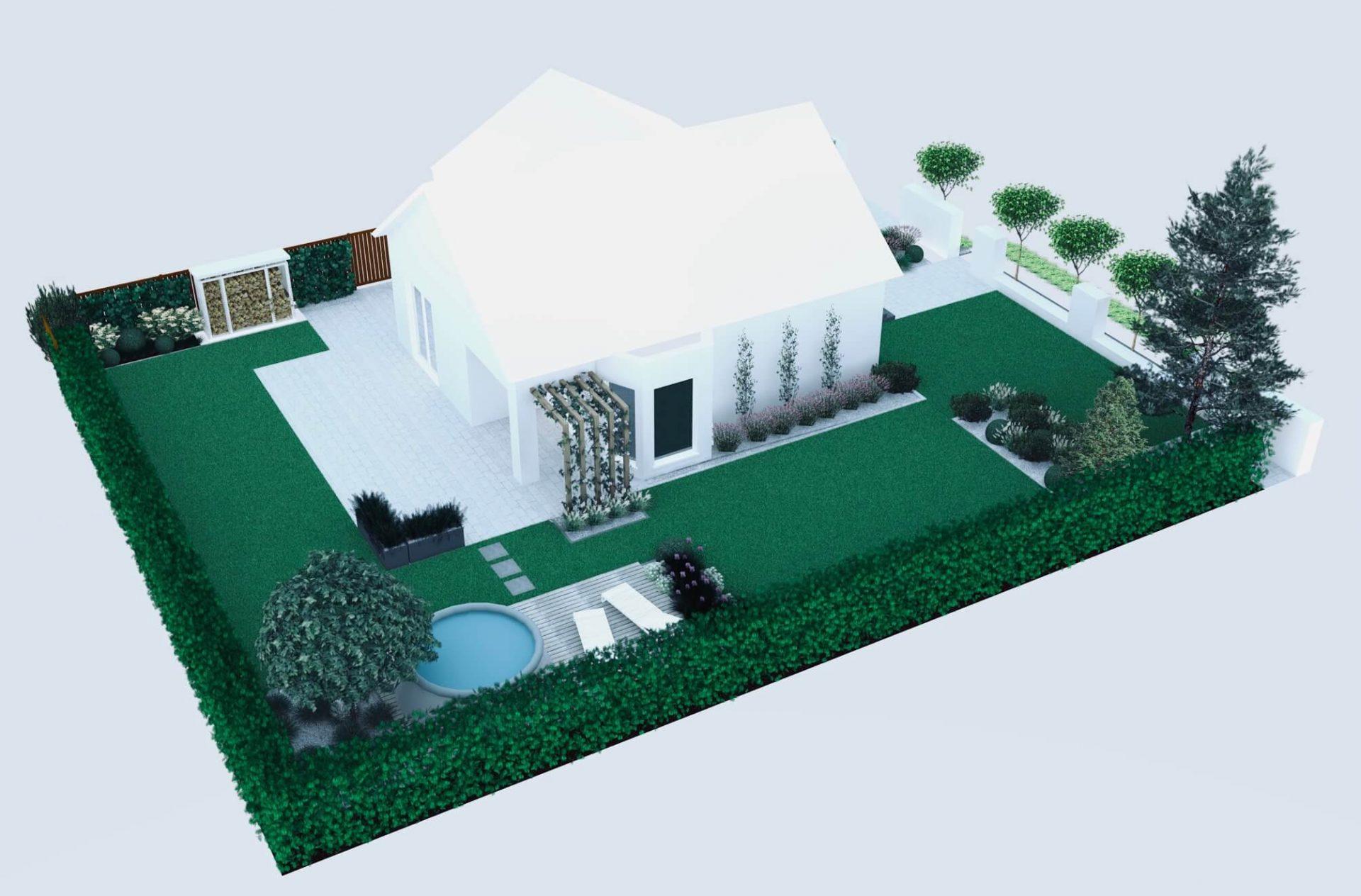Ogród mały i prosty, widok z góry, wizualizacja ogrodu, kąty proste