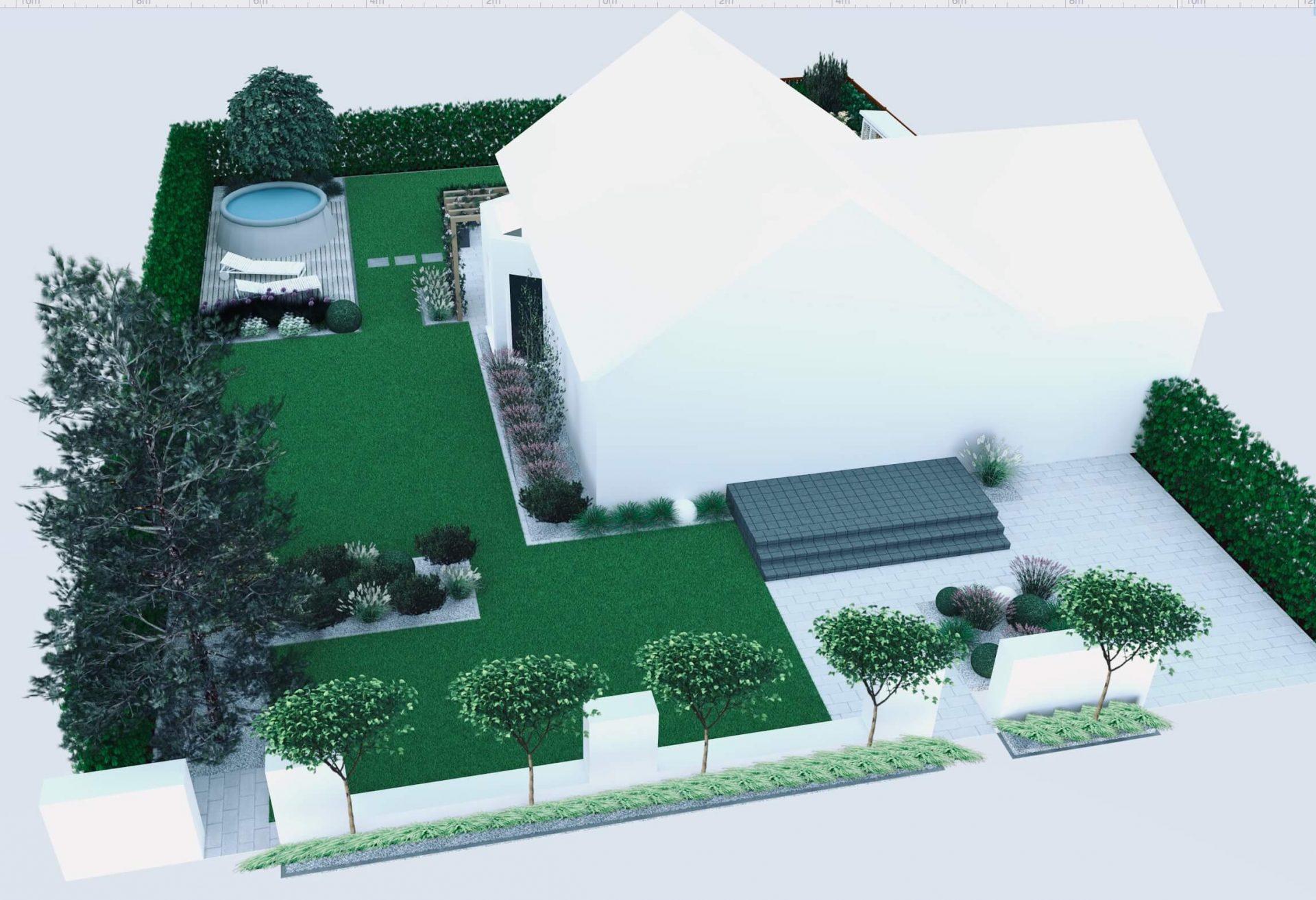 Katalpy nana, wizualizacja ogrodu, trawnik, lawendy