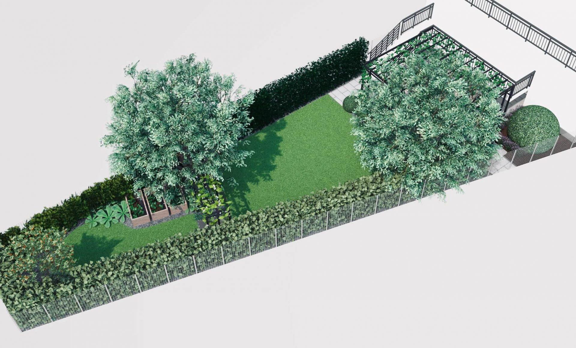 Dwa trawniki, warzywa w skrzyniach, żywopłoty, wizualizacja ogrodu w mieście