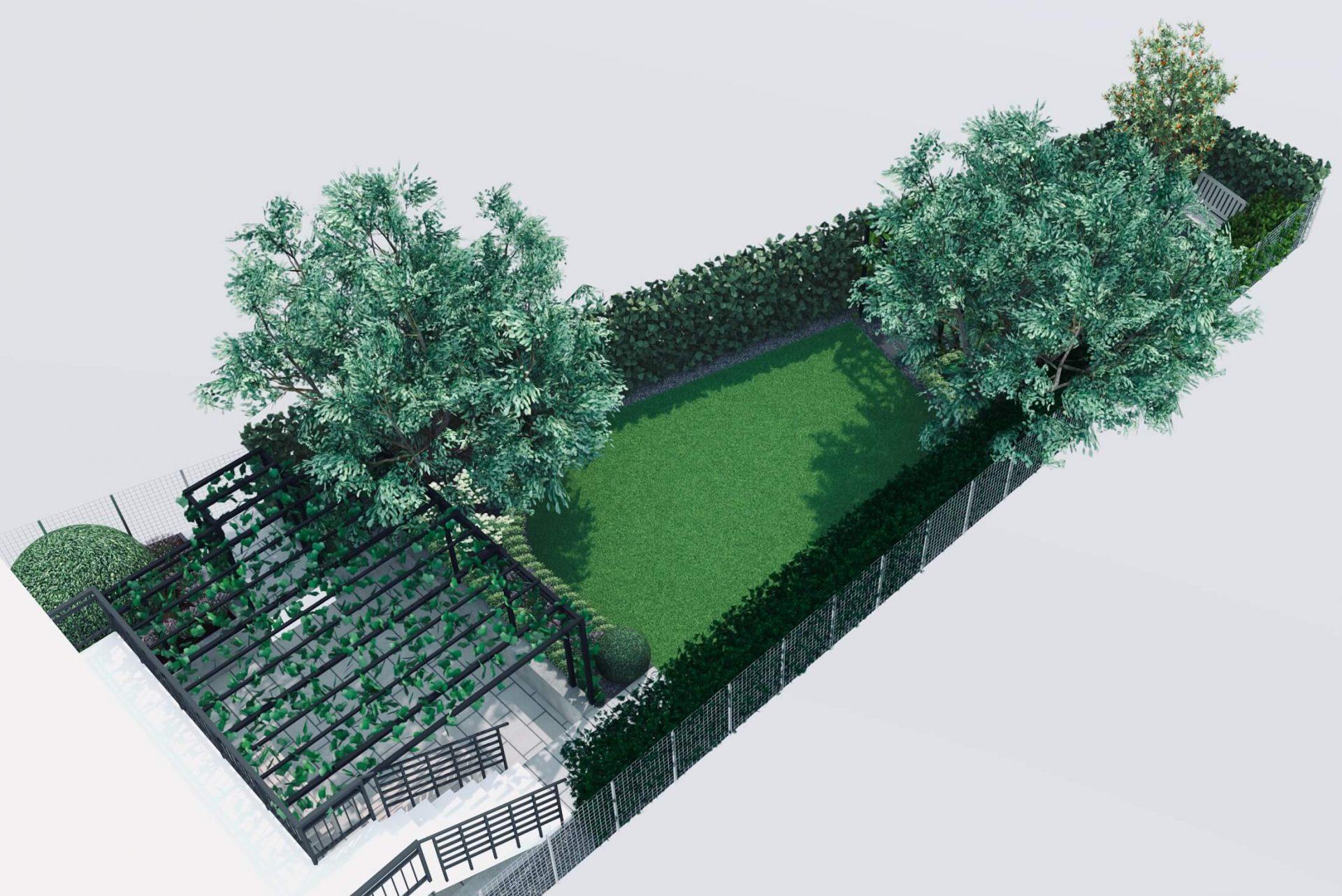 Mały wąski ogród wizualizacja z góry, drzewa pergola