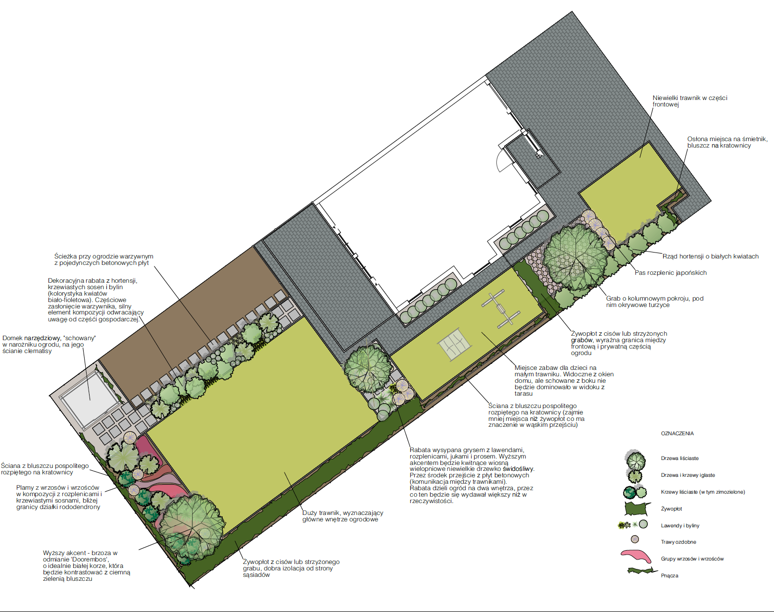 Rzut z góry ogrodu projekt ogrodu plansza