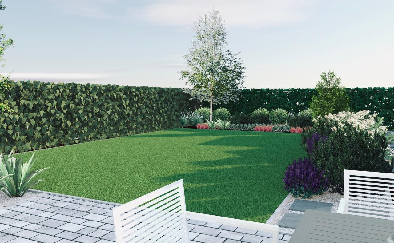 Widok z tarasu, wizualizacja ogrodu, rabata, wrzosowisko