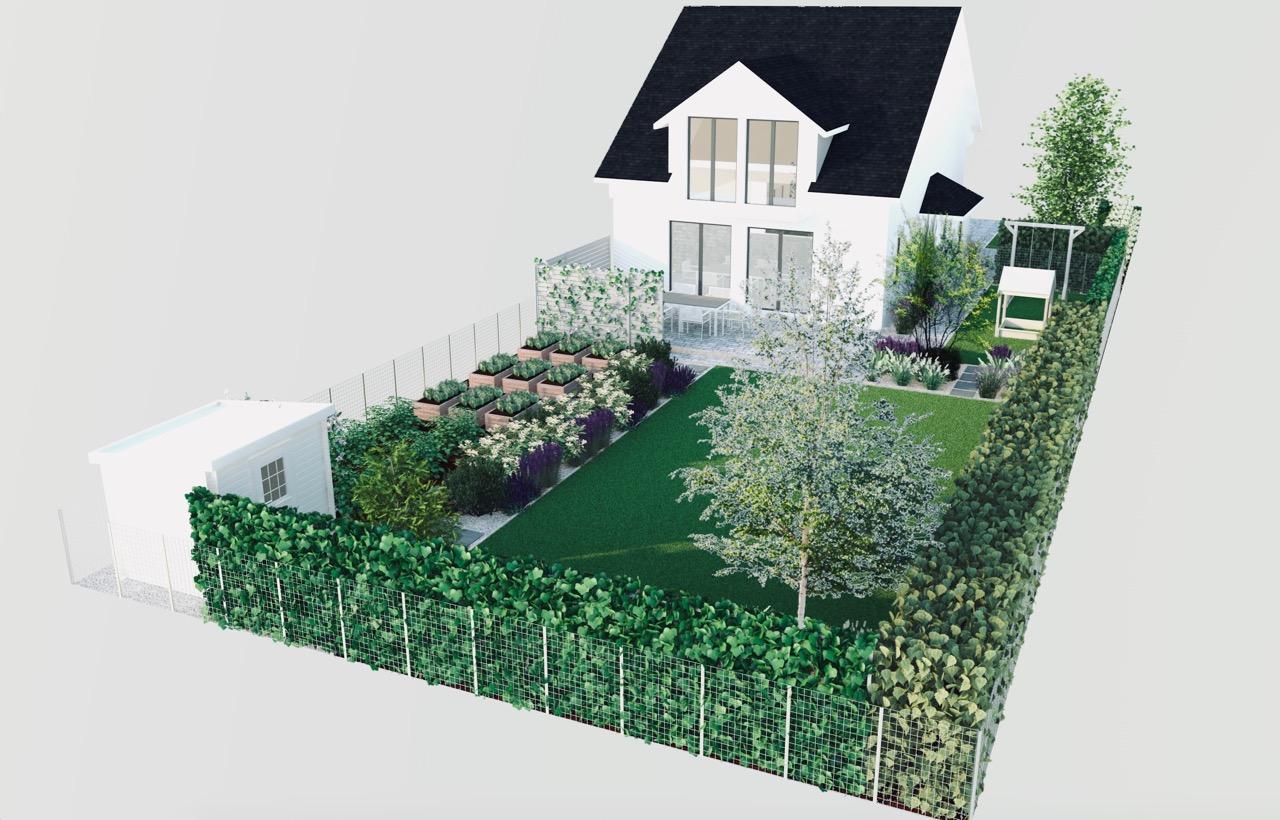 Wizualizacja projekt ogrodu, prostokątny trawnik, ogród warzywny