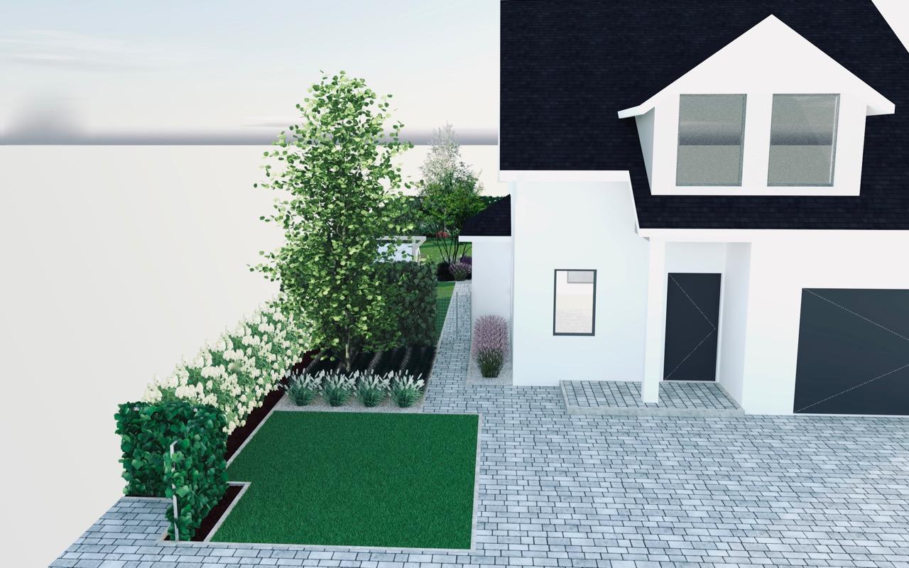 Wizualizacja część frontowa ogrodu projekt ogrodu szeregowiec