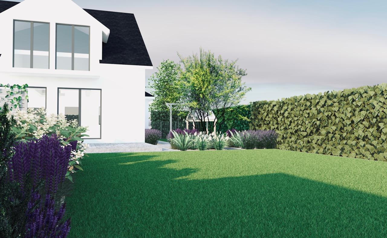 Projekt ogrodu fioletowa rabata bylinowa przed warzywnikiem, trawnik