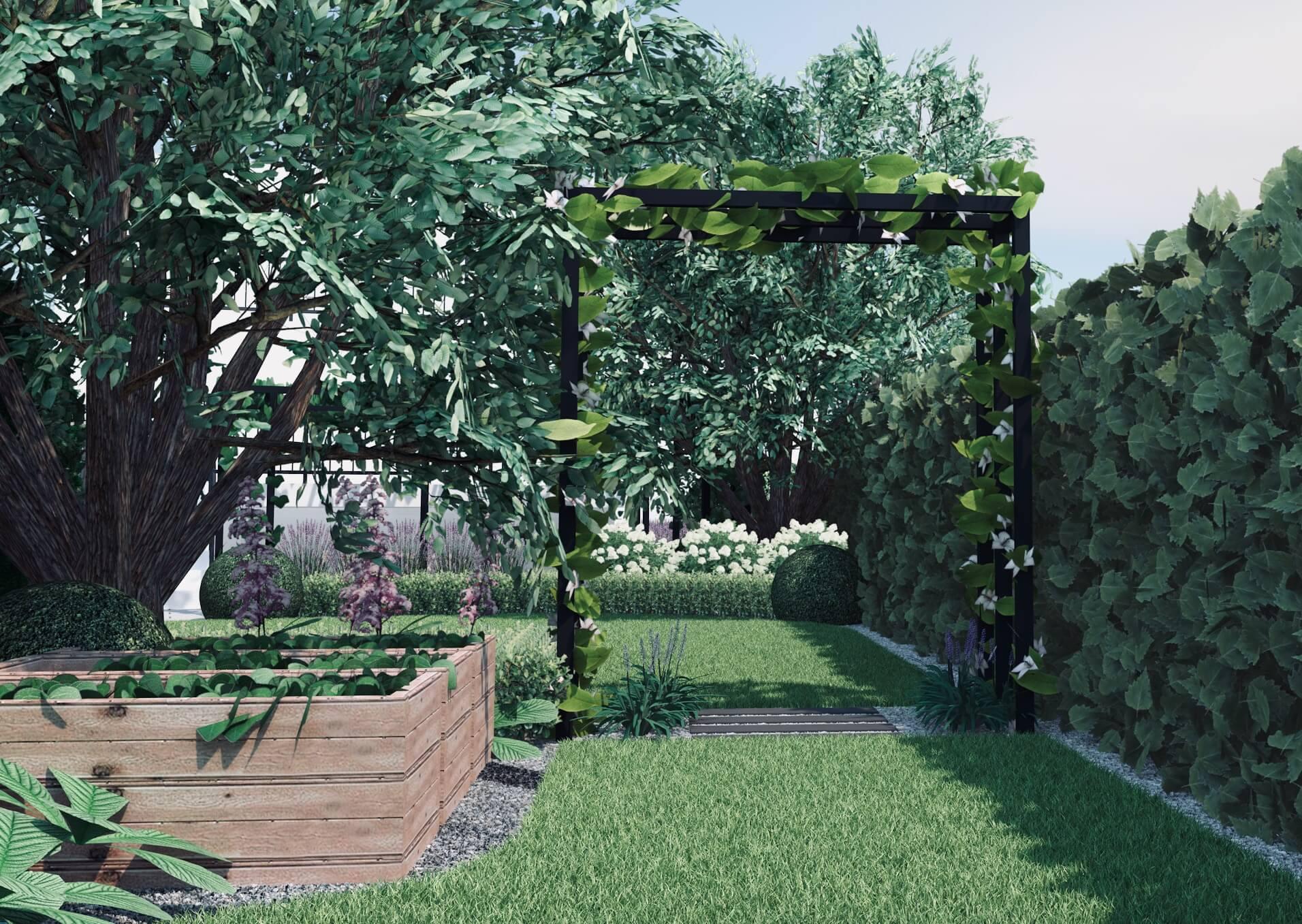 Projekt ogrodu metalowa pergola przejście między trawnikami