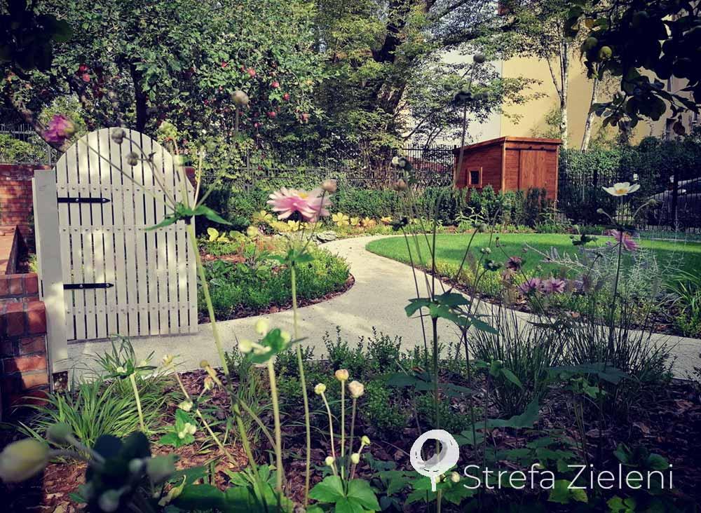 Wejście do ogrodu, jasna ścieżka, byliny, zawilce, owalny trawnik, Poznań, realizacja ogrodu
